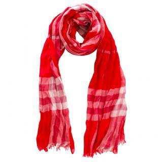 Burberry Red Plaid Wool & Silk Cardigan