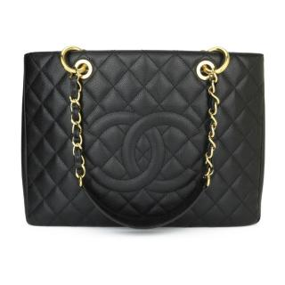 Chanel Black Leather Grand Shopping Tote GHW