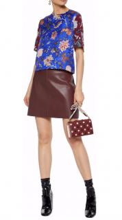 DVF Jennie Burgundy/Black Leather Mini Skirt