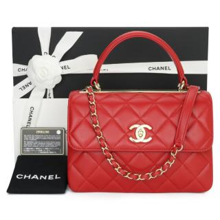 Chanel Red Trendy CC Top Handle Quilted Flap Bag