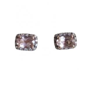 Bespoke Pink Morganite & Diamond Stud Earrings