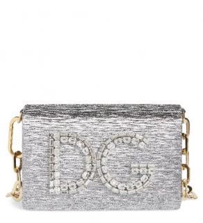 Dolce & Gabbana metallic silver Girls crystal embellished shoulder bag