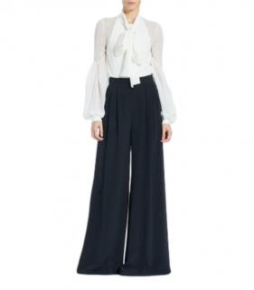Carolina Herrera Black Wide Leg Sparkle Trousers.