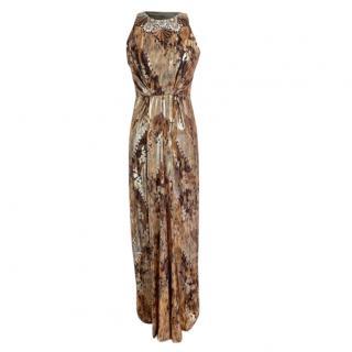 Jenny Packham Jacquard Embellished Leopard Gown