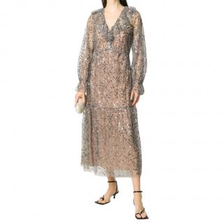 Self Portrait Sheer Ruffled Leaf Sequin Midi Dress