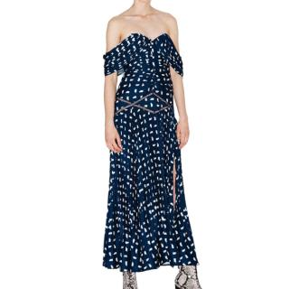 Self-Portrait Sail Print Off Shoulder Midi Dress
