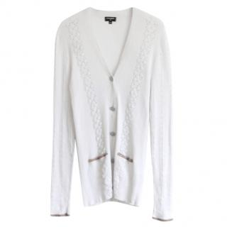 Chanel White Cotton Embroidered Cardigan