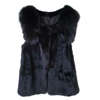 Bespoke Black Rabbit Fur Sleeveless Jacket