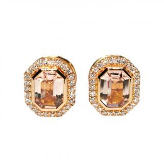 William & Son Rose Gold Morganite Diamond Earrings