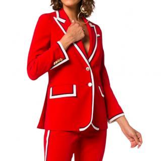 Gucci Red Grosgrain Trimmed Stretch Crepe Jacket