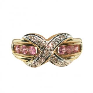 Bespoke Pink Sapphire & Diamond Yellow Gold Ring
