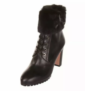 Aquazzura Mink Fur Trimmed Leather Marmont Ankle Boots