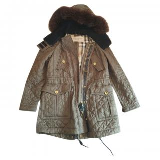 Burberry Brit Quilted Fur Trimmed Parka