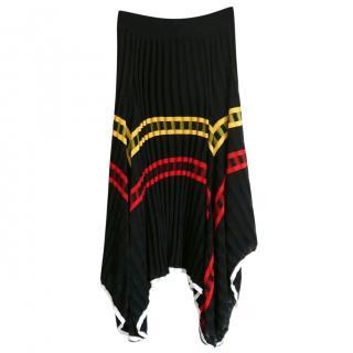 Celine by Phoebe Philo Black Asymmetric Stripe Midi Skirt