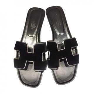 Hermes Black Velvet Oran Sandals