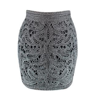 Maje Silver & Black Crochet Mini Skirt