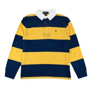 Polo Ralph Lauren Yellow & Blue Striped Long Sleeve Polo Shirt