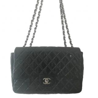 Chanel Black Patent Leather Double Flap Bag