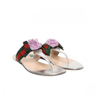 Gucci Flower Applique Grosgrain Web Leather Sandals