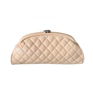 Chanel beige calf skin mademoiselle clutch