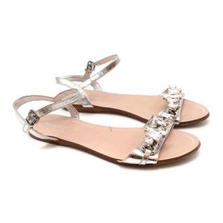 Miu Miu Silver Leather Strappy Crystal Flat Sandals
