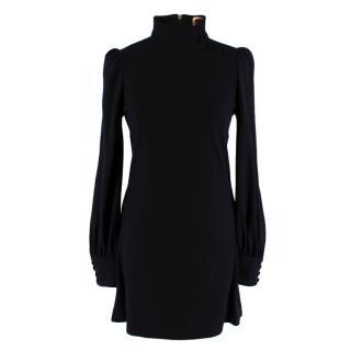 Biba Black Wool Long Sleeve Mini Dress