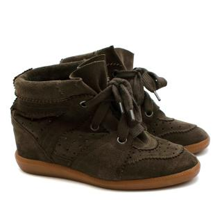 Isabel Marant Olive Suede Bobby Wedge Sneakers