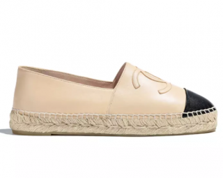 Chanel Beige/Black Cap-Toe CC Leather Espadrilles