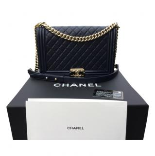 Chanel Navy Medium Quilted Boy Bag