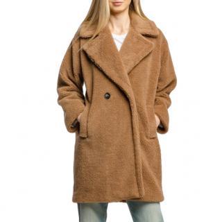 Marella Double Breasted Camel Teddy Coat