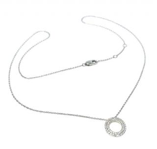 Bespoke Pave Diamond Circle White Gold Pendant Necklace