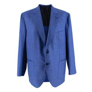 Donato Liguori Blue Cotton Blend Tailored Blazer Jacket