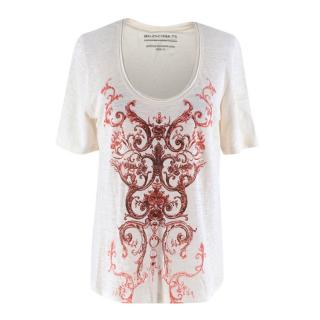 Balenciaga Ivory Linen Rocaille T-shirt