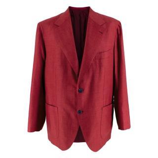 Donato Liguori Red Cotton Blend Tailored Blazer