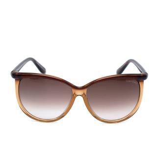 Tom Ford Brown Acetate Josephine Oversized Sunglasses