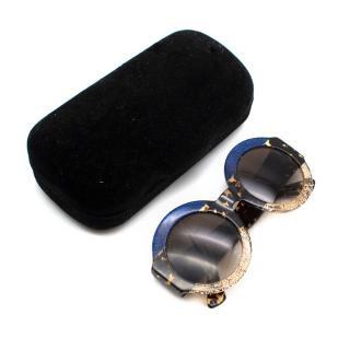 Gucci Blue Tortoiseshell & Gold Round Acetate Sunglasses