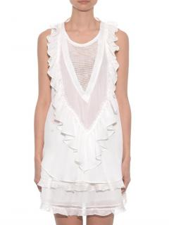 Isabel Marant Ivory Sheer Panelled Ruffled Sleeveless Top