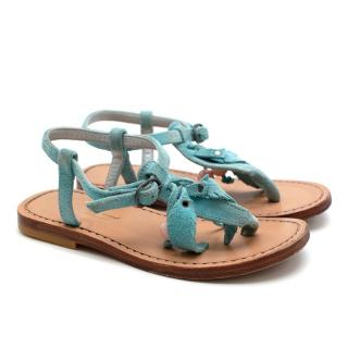 Bonpoint Girls Blue Suede Flat Sandals