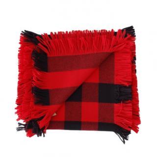 Burberry Red & Black Mega Check Fringed Scarf
