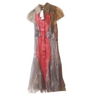 Carven Sheer Colourblock Button Down Shirt Dress