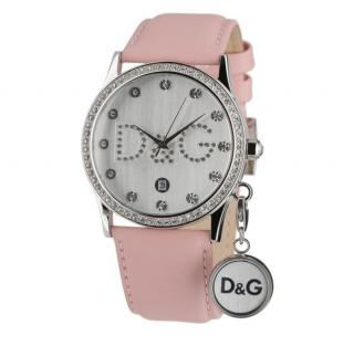 D&G Gloria Pink Crystal Watch with Leather Strap