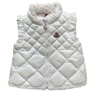 Moncler White Sleeveless Shearling Lined Down Gilet