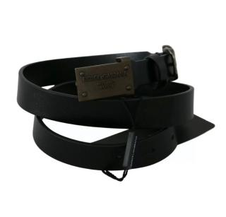 Dolce & Gabbana Black Logo Buckle Belt