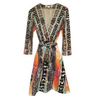 DVF Multicoloured Printed Amelia Wrap Dress