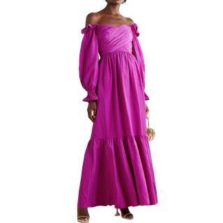 Self Portrait Off the Shoulder Ruffled Taffeta Gown