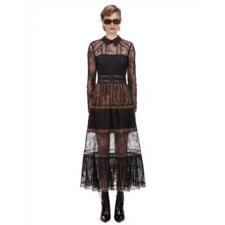 Self Portrait Black Fine Lace Trim Midi Dress