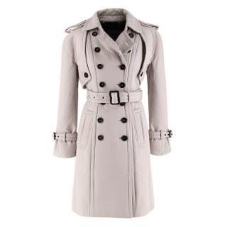Burberry Greige Cotton & Wool Double Breasted Trench Coat