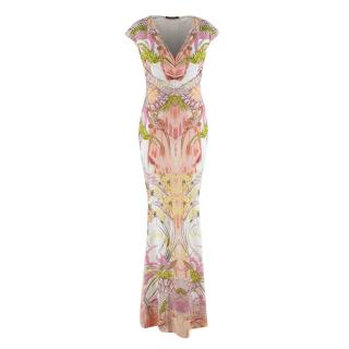 Roberto Cavalli Peach Cap Sleeve Floral Print Dress