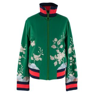 Gucci Floral-embroidered silk-satin bomber jacket