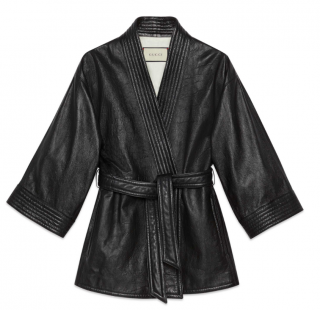 Gucci Black Leather Crystal GUCCY Wrap Jacket